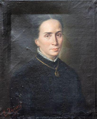 C. Zipoti (XIXème)  Portrait de femme endeuillée  Huile sur toile  Signée en bas...