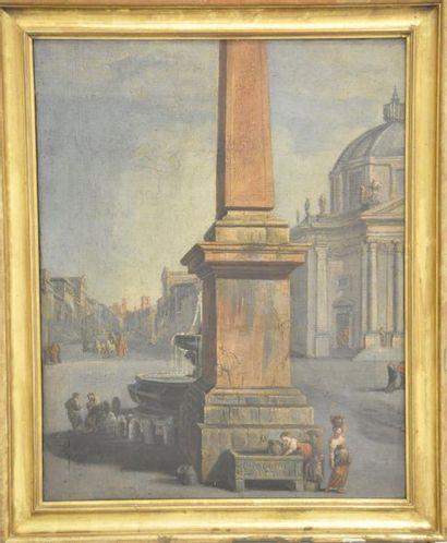 Travail romain vers 1820  Au pied de l'obélisque...