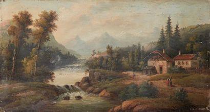 Hippolyte ROUX (1852 - ?)  Paysage à la rivière...