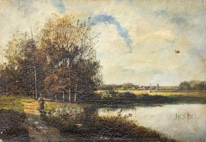 Nicolas Rousseau (XIXème)  Promenade au bord...
