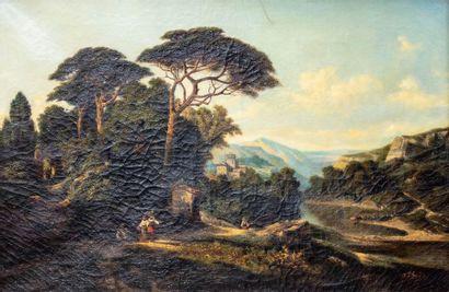 M. Chopin (XIXème)  Paysage au lac  Huile...