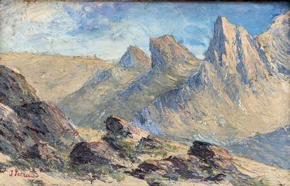 Jean PARRAUD (1944)  Paysage de montagne  Huile sur toile signée en bas à gauche...
