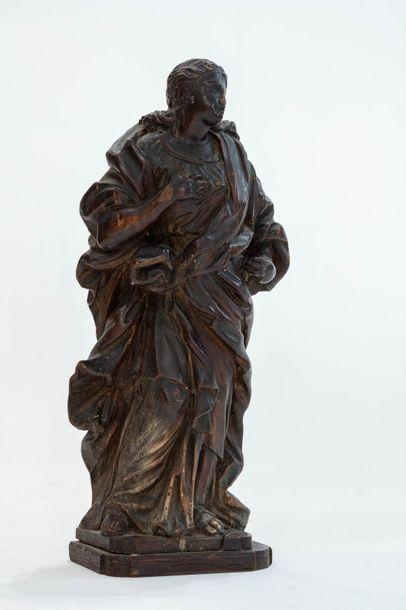 Statue en bois de tilleul sculpté représentant...
