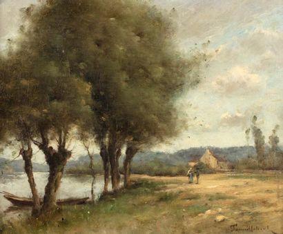 Paul Désiré TROUILLEBERT (Paris 1829-1900)  Saules au bord d'une rivière  Huile...