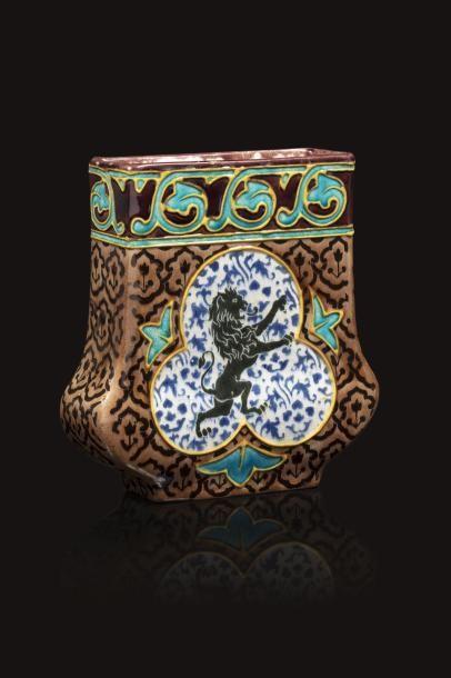 Jules VIEILLARD (1813 - 1868)  Vase quadrangulaire...