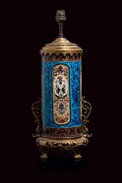 Jules VIEILLARD (1813 - 1868)  Lampe à fût...