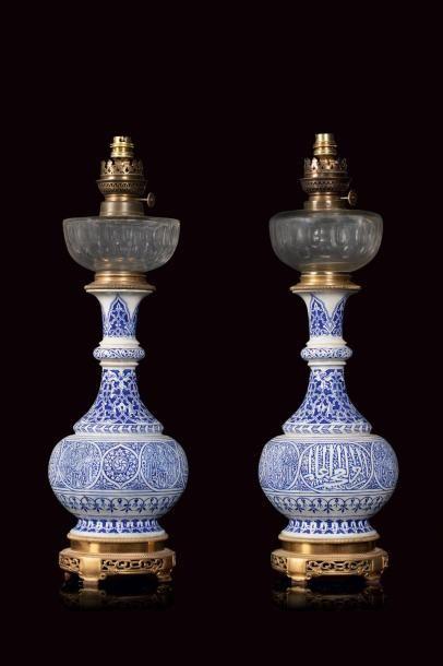 Théodore DECK (1823 - 1891)  Paire de lampes...