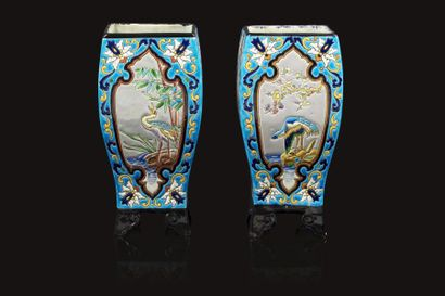 Jules VIEILLARD (1813 - 1868)  Paire de vases...
