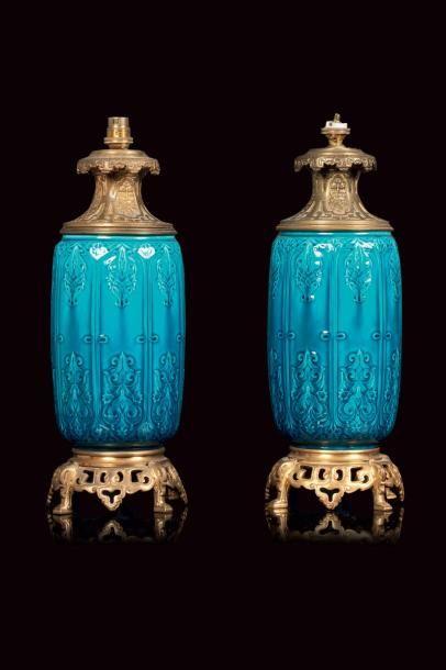 Théodore DECK (1823 - 1891)  Paire de lampes à fût tubulaire en faïence à couverte...