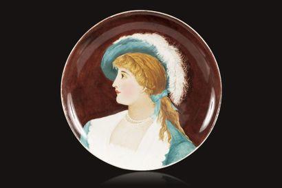 Jules VIEILLARD (1813 - 1868)  Assiette en...