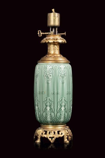 Théodore DECK (1823 - 1891)  Lampe à fût...