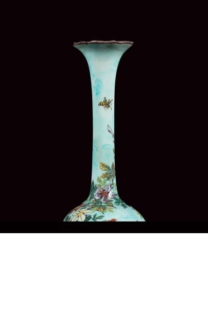 Théodore DECK (1823 - 1891)  Vase soliflore...