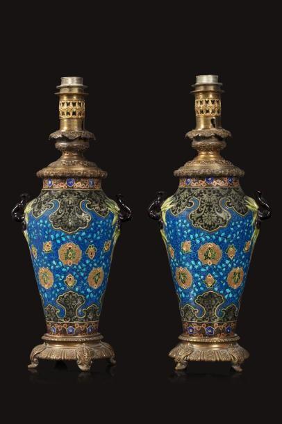 Jules VIEILLARD (1813 - 1868)  Paire de lampes...