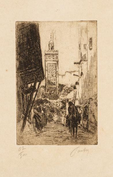 TARDY  Ruelle animée d'Afrique du Nord  Lithographie numérotée 02/300  15 x 10 cm...