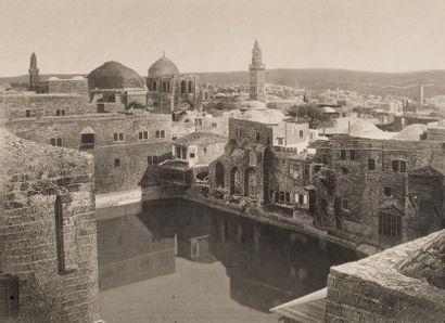 The Pool of Hezekiah, Jerusalem. Gravure...