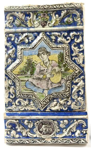 Iran, fin du 19e siècle.  Deux carreaux de...