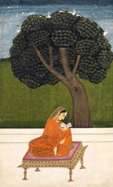 Rajasthan, 18e siècle.  La lecture sur une...
