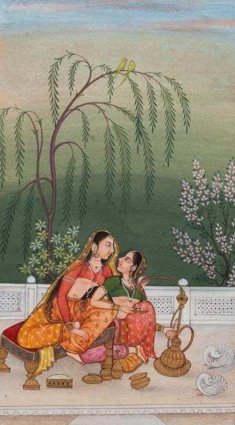 Inde  Les deux amies  Miniature peinte à...