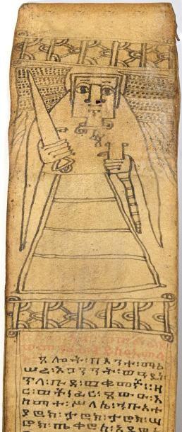 Ethiopie.  Rouleau manuscrit à l'encre noire...