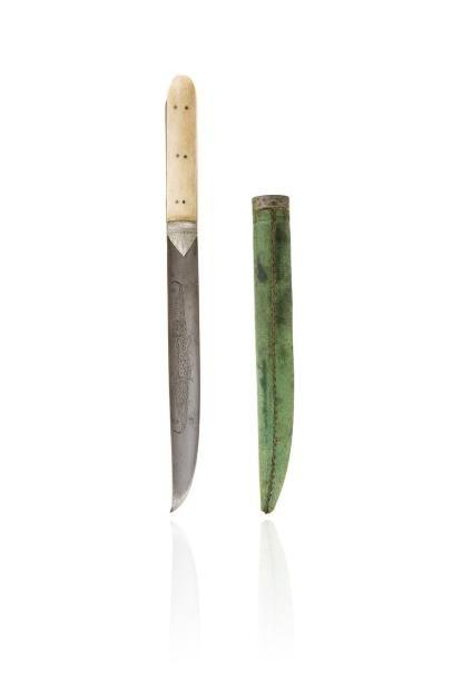 Grèce, 19e siècle.  Couteau crétois à poignée...