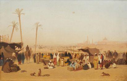 Théodore FRERE (Paris 1814 - 1888)  Le marché au Caire  Huile sur panneau une planche...