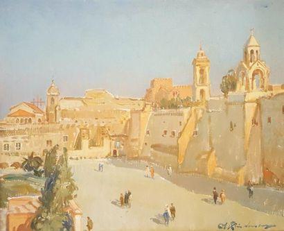 Martin LINDENAU (Né en 1948)  Palestine  Huile...