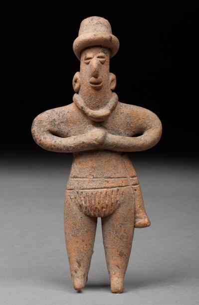 Statuette anthropomorphe  Terre cuite beige-orangé...