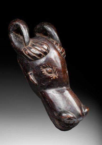 Masque-cimier représentant une tête de bovidé...