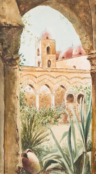 Edwin Lord WEEKS (Boston 1849 - Paris 1903)  La mosquée vue du jardin  Aquarelle...