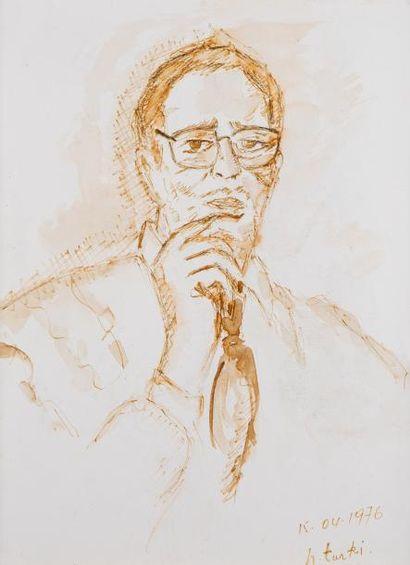 Hedi TURKI (Tunis 1922)  Portrait d'homme...