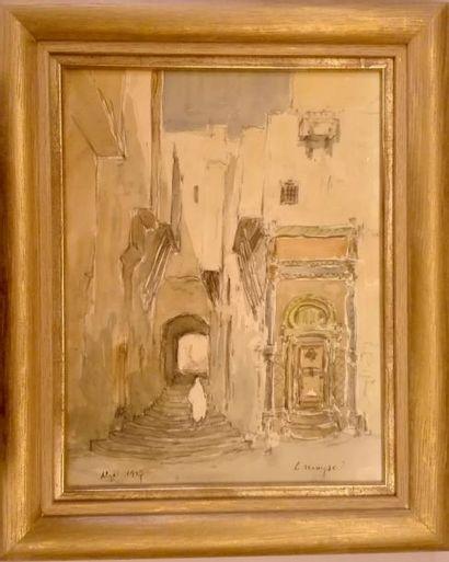 Léon MOYSE (1873 - 1955)  Une rue d'Alger  Aquarelle sur trait de crayon  29 x 22...