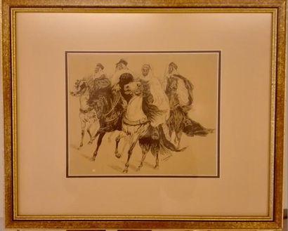 J GRIMAUD (Actif à la fin du XIXème siècle)  Quatre cavaliers algériens (Abd el...