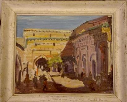 J. LELLOUCHE  Marrakech  Huile sur toile d'origine  Signé, localisé et daté en bas...