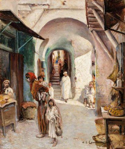 Attribué à William Adolphe LAMBRECHT (1876-1940)  Femme et enfants au marché  Huile...