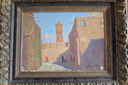 Lev CHODTCHENKO (1910 ou 1916- ?)  Le minaret  Huile sur carton  H.:32 x 45 cm  Signé...