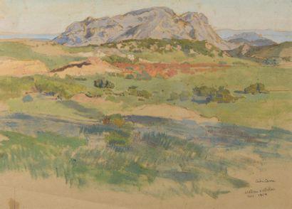 Léon CARRE (Granville 1878-?)  Le plateau d'Adekar  Gouache  H. à la vue: 21 x 29...