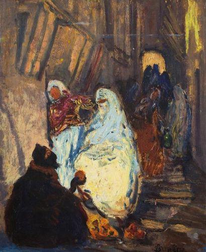 André SUREDA (Versailles 1872 - 1930)  Jeune fille au collier / Vue d'une rue  Huile...