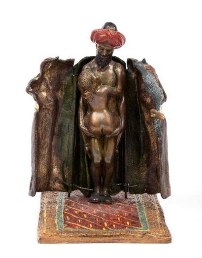 Edition BERGMANN - bronze de Vienne  Sujet érotique en bronze polychrome peint à...