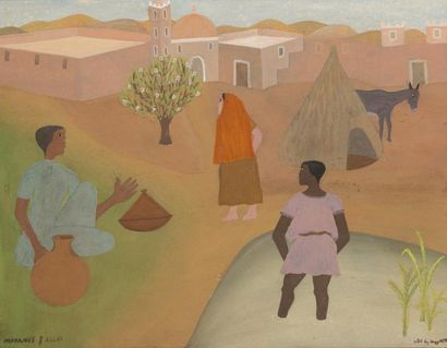 Mohamed BEN ALLAL (1924-1995)  La Mare  Gouache...