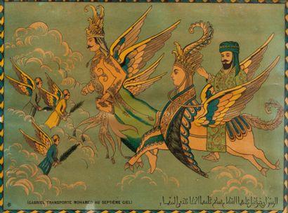 Gabriel transporte Muhammad au septième ciel....