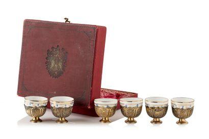 Service à café ottoman composé de six zarfs...