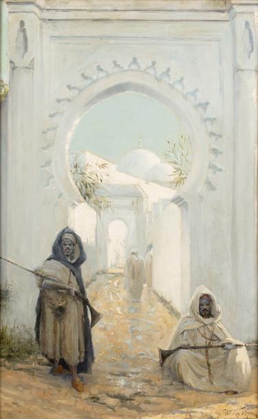 Henri VAN MELLE (1859 - 1930) Les gardiens Huile sur toile d'origine 87 x 55 cm...