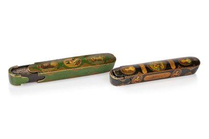 Deux qalamdans Qajar  Plumiers en bois peint...