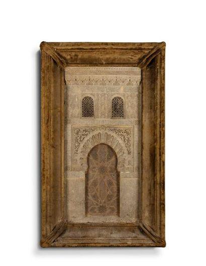 Maquette de l'Alhambra  en stuc sculpté,...