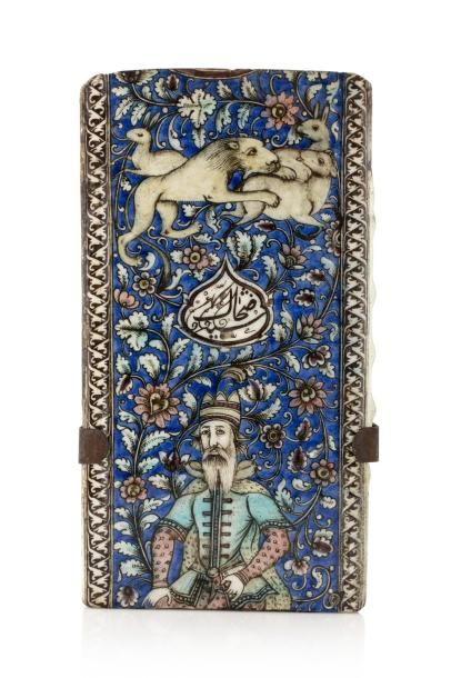 Carreau de frise Qajar  en céramique polychrome...