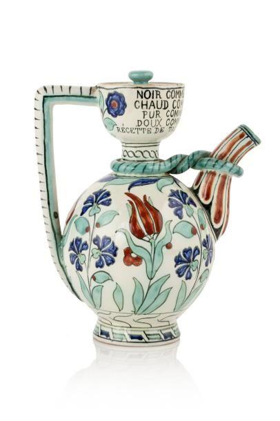 Verseuse de Cantagalli  en céramique à décor...