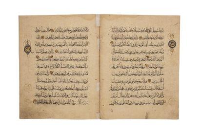 Partie de Coran mamlouque  Dix feuillets...