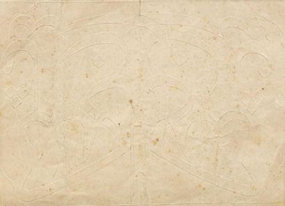 Exercice calligraphique  sur papier beige...