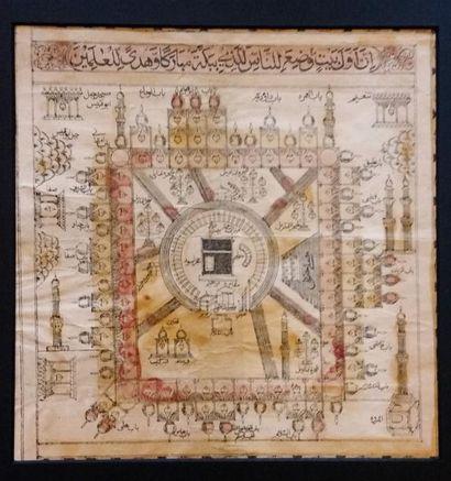 Quatre certificats du Hajj  imprimés sur papier beige, attestant de la réalisation...
