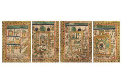 Quatre certificats du Hajj  imprimé sur papier,...